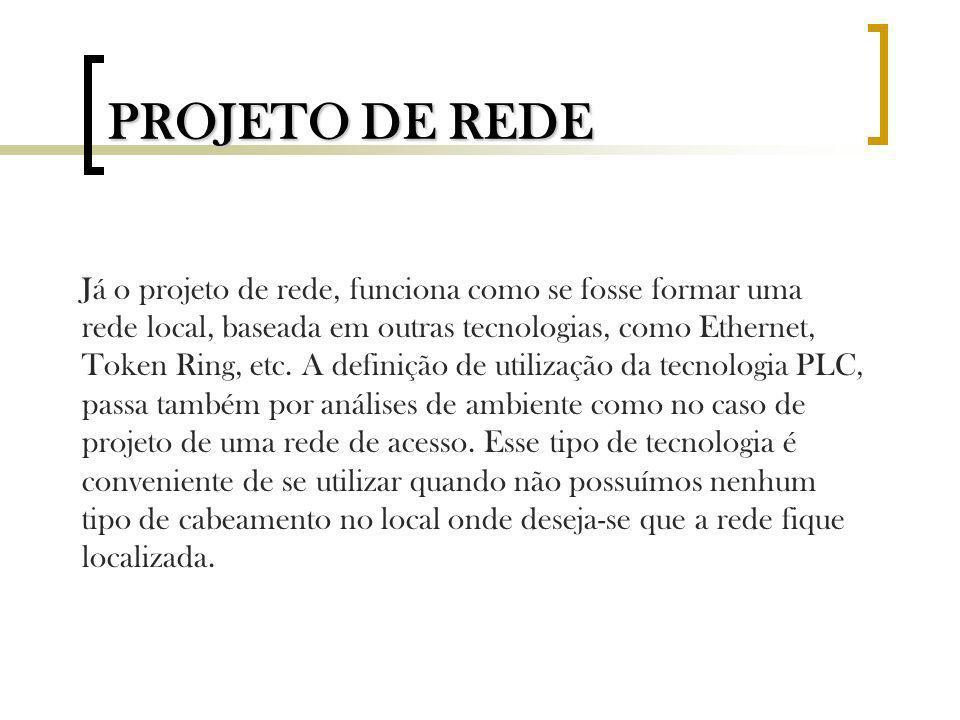 PROJETO DE REDE Já o projeto de rede, funciona como se fosse formar uma rede local, baseada em outras tecnologias, como Ethernet, Token Ring, etc. A d