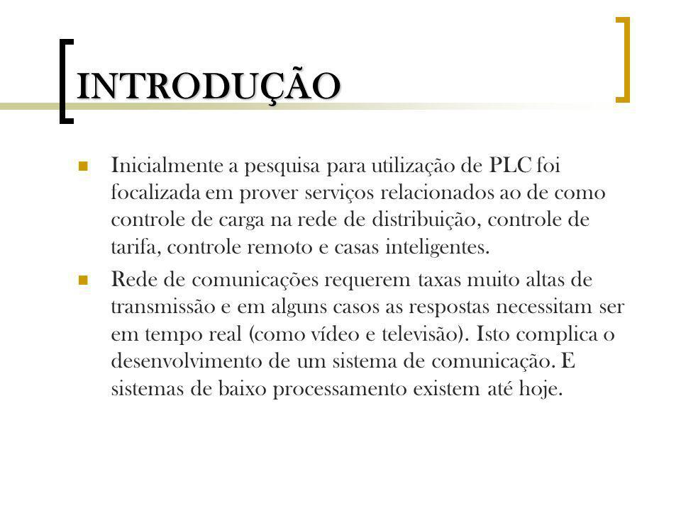 Inicialmente a pesquisa para utilização de PLC foi focalizada em prover serviços relacionados ao de como controle de carga na rede de distribuição, co