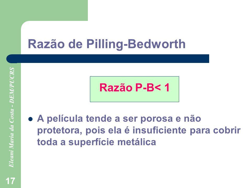 Eleani Maria da Costa - DEM/PUCRS 17 Razão de Pilling-Bedworth Razão P-B< 1 A película tende a ser porosa e não protetora, pois ela é insuficiente par