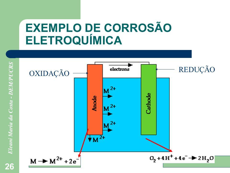 Eleani Maria da Costa - DEM/PUCRS 26 EXEMPLO DE CORROSÃO ELETROQUÍMICA OXIDAÇÃO REDUÇÃO
