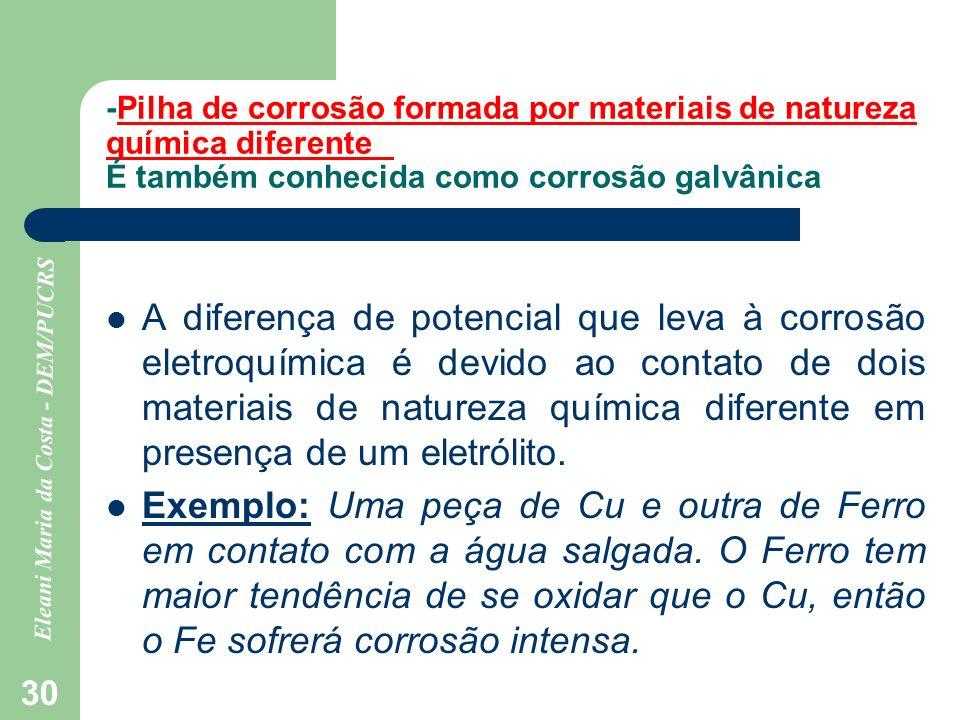 Eleani Maria da Costa - DEM/PUCRS 30 -Pilha de corrosão formada por materiais de natureza química diferente É também conhecida como corrosão galvânica