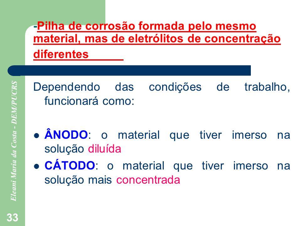 Eleani Maria da Costa - DEM/PUCRS 33 -Pilha de corrosão formada pelo mesmo material, mas de eletrólitos de concentração diferentes Dependendo das cond