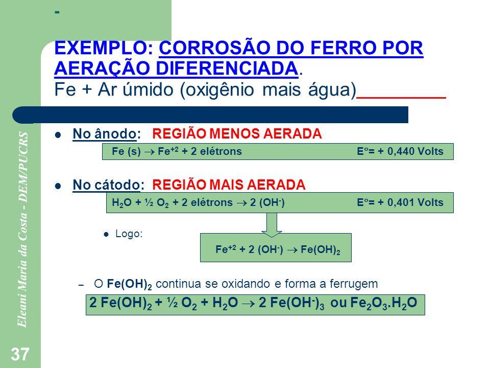 Eleani Maria da Costa - DEM/PUCRS 37 - EXEMPLO: CORROSÃO DO FERRO POR AERAÇÃO DIFERENCIADA. Fe + Ar úmido (oxigênio mais água) No ânodo:REGIÃO MENOS A