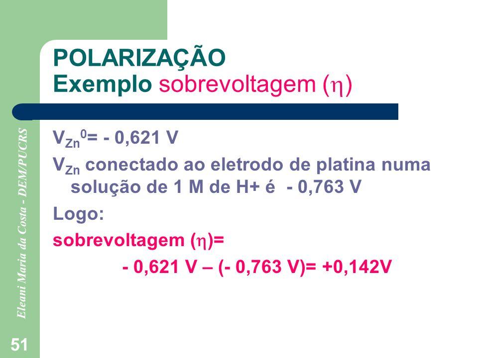 Eleani Maria da Costa - DEM/PUCRS 51 POLARIZAÇÃO Exemplo sobrevoltagem ( ) V Zn 0 = - 0,621 V V Zn conectado ao eletrodo de platina numa solução de 1