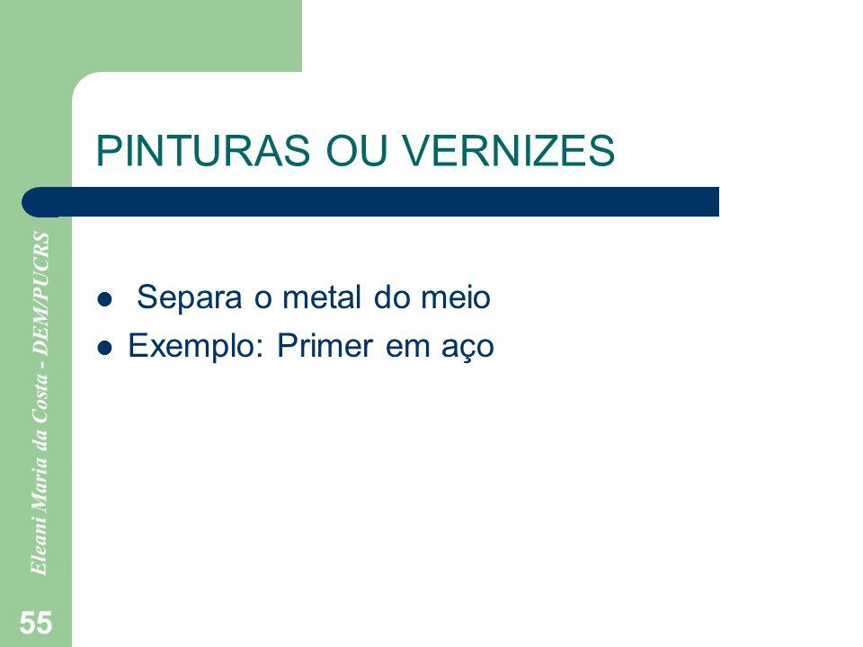 Eleani Maria da Costa - DEM/PUCRS 55 PINTURAS OU VERNIZES Separa o metal do meio Exemplo: Primer em aço