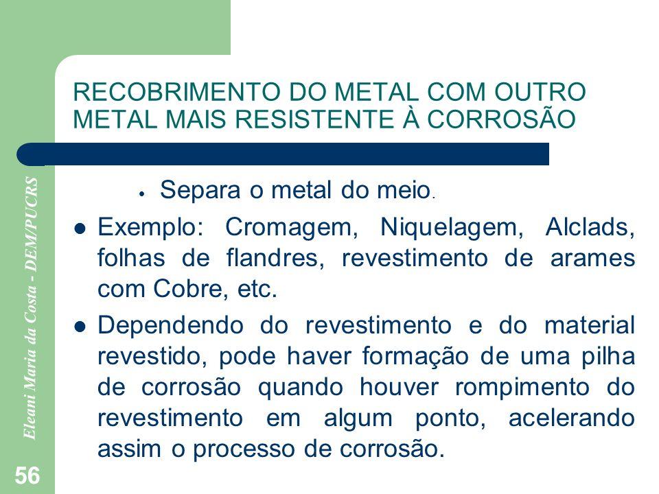 Eleani Maria da Costa - DEM/PUCRS 56 RECOBRIMENTO DO METAL COM OUTRO METAL MAIS RESISTENTE À CORROSÃO Separa o metal do meio. Exemplo: Cromagem, Nique