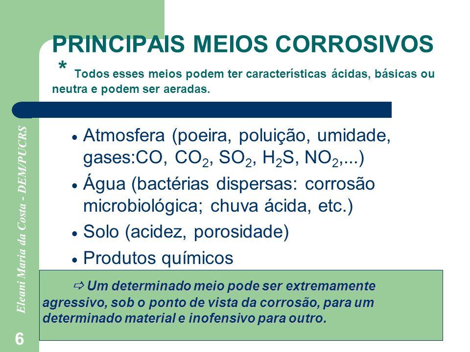 Eleani Maria da Costa - DEM/PUCRS 6 PRINCIPAIS MEIOS CORROSIVOS * Todos esses meios podem ter características ácidas, básicas ou neutra e podem ser ae