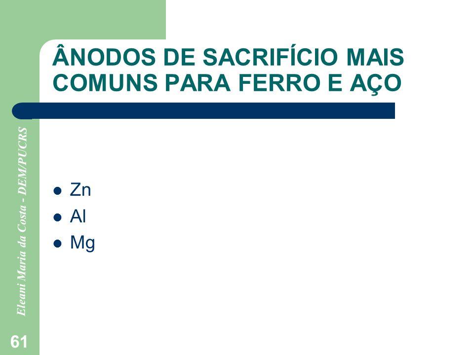 Eleani Maria da Costa - DEM/PUCRS 61 ÂNODOS DE SACRIFÍCIO MAIS COMUNS PARA FERRO E AÇO Zn Al Mg