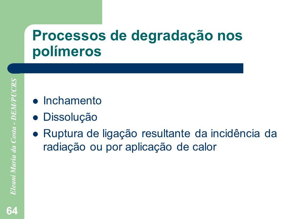 Eleani Maria da Costa - DEM/PUCRS 64 Processos de degradação nos polímeros Inchamento Dissolução Ruptura de ligação resultante da incidência da radiaç