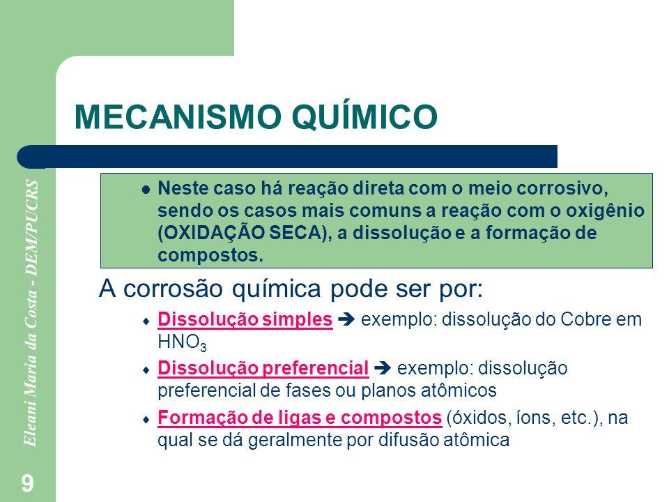 Eleani Maria da Costa - DEM/PUCRS 9 MECANISMO QUÍMICO Neste caso há reação direta com o meio corrosivo, sendo os casos mais comuns a reação com o oxig