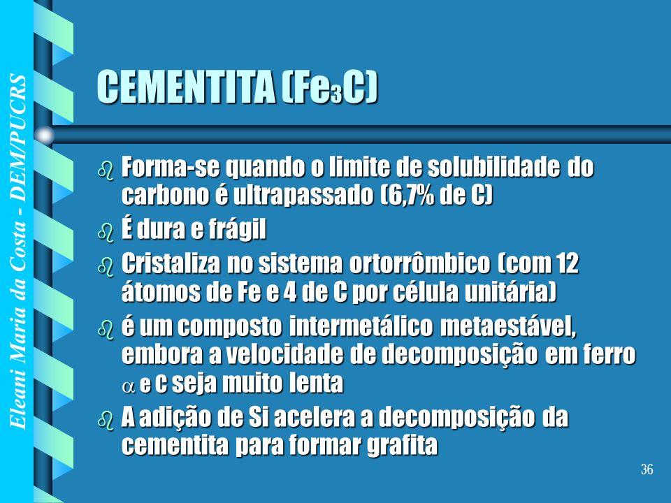 Eleani Maria da Costa - DEM/PUCRS 36 CEMENTITA (Fe 3 C) b Forma-se quando o limite de solubilidade do carbono é ultrapassado (6,7% de C) b É dura e fr