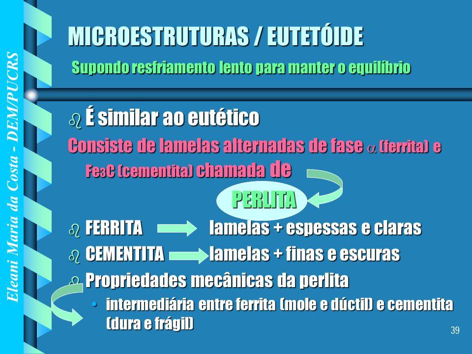 Eleani Maria da Costa - DEM/PUCRS 39 MICROESTRUTURAS / EUTETÓIDE Supondo resfriamento lento para manter o equilíbrio b É similar ao eutético Consiste