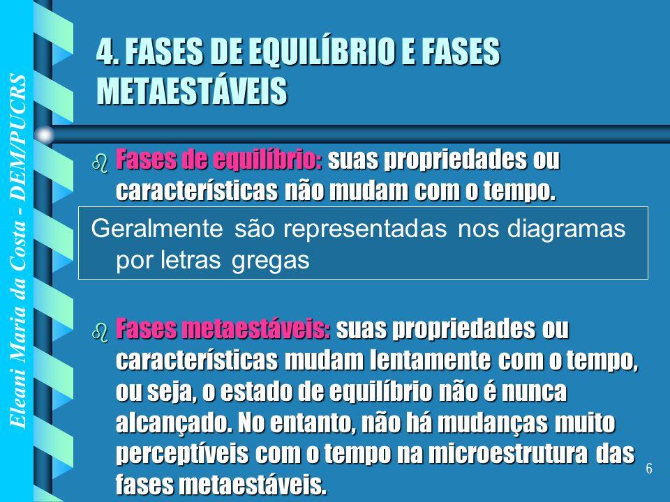 Eleani Maria da Costa - DEM/PUCRS 6 4. FASES DE EQUILÍBRIO E FASES METAESTÁVEIS b Fases de equilíbrio: suas propriedades ou características não mudam