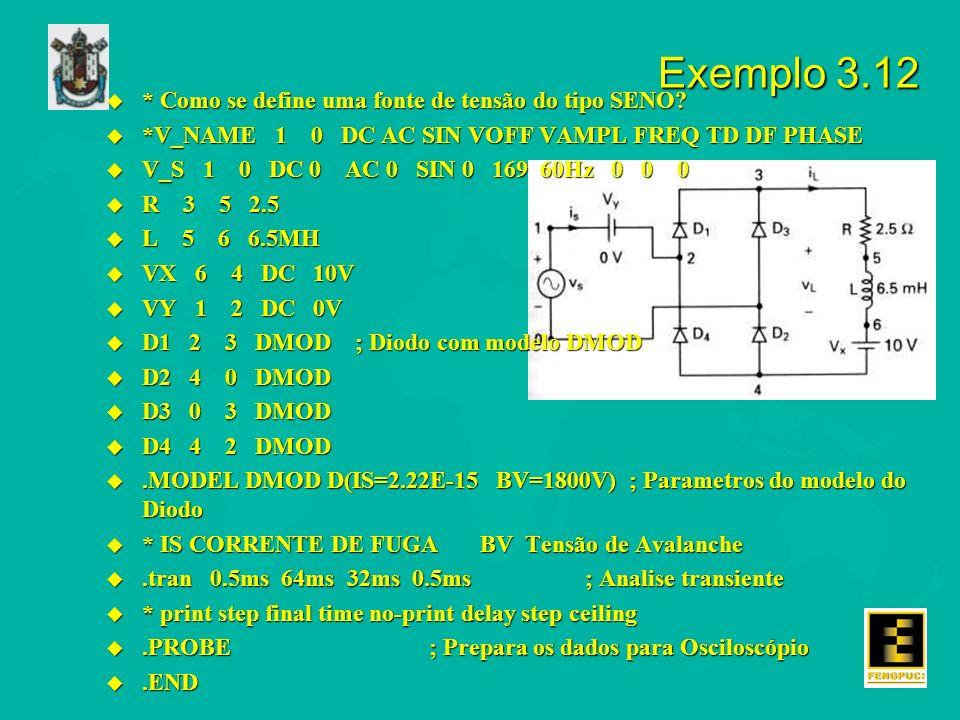 Exemplo 3.12 u * Como se define uma fonte de tensão do tipo SENO? u *V_NAME 1 0 DC AC SIN VOFF VAMPL FREQ TD DF PHASE u V_S 1 0 DC 0 AC 0 SIN 0 169 60