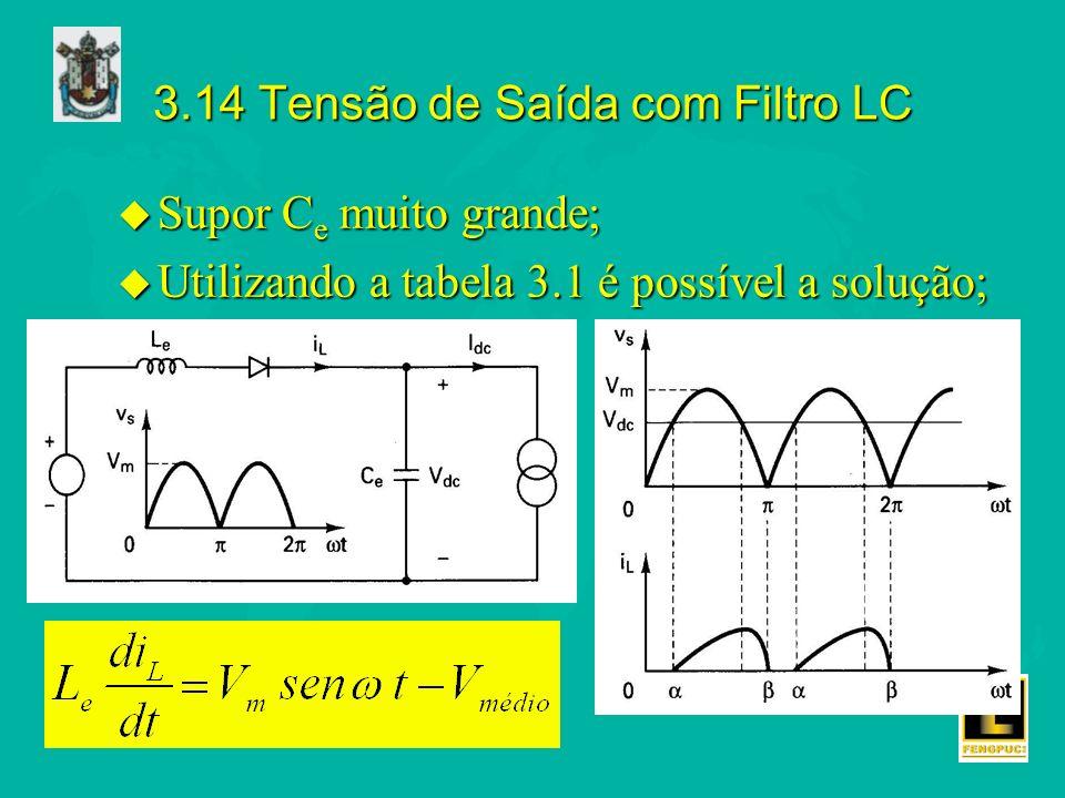3.14 Tensão de Saída com Filtro LC u Supor C e muito grande; u Utilizando a tabela 3.1 é possível a solução;