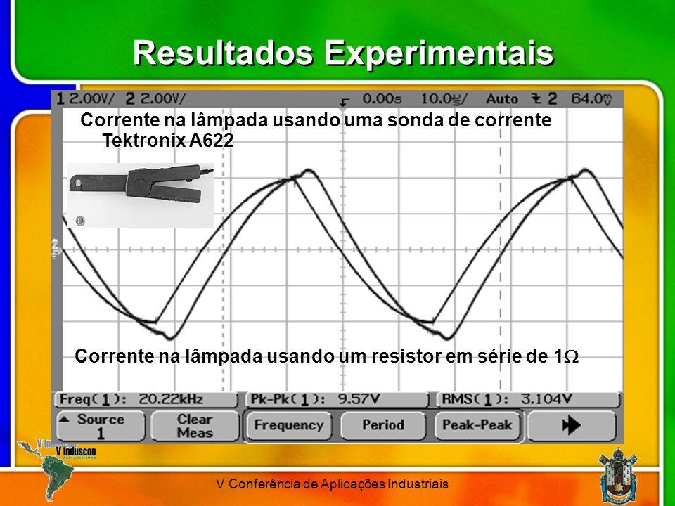V Conferência de Aplicações Industriais Resultados Experimentais Corrente na lâmpada usando um resistor em série de 1 Corrente na lâmpada usando um re