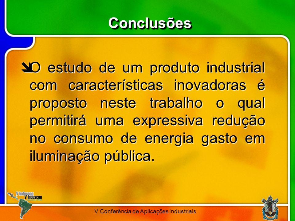 V Conferência de Aplicações Industriais ConclusõesConclusões O estudo de um produto industrial com características inovadoras é proposto neste trabalh