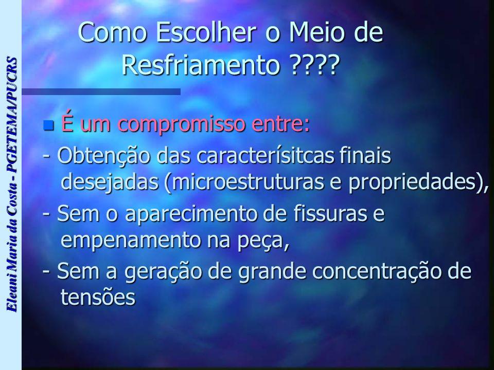 Eleani Maria da Costa - PGETEMA/PUCRS Como Escolher o Meio de Resfriamento ???? n É um compromisso entre: - Obtenção das caracterísitcas finais deseja
