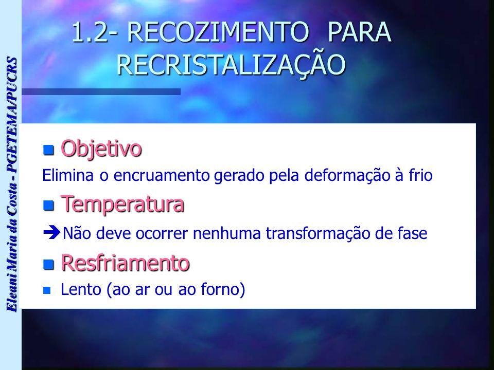 Eleani Maria da Costa - PGETEMA/PUCRS 1.2- RECOZIMENTO PARA RECRISTALIZAÇÃO n Objetivo Elimina o encruamento gerado pela deformação à frio n Temperatu