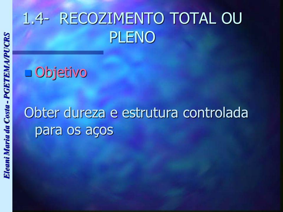 Eleani Maria da Costa - PGETEMA/PUCRS 1.4- RECOZIMENTO TOTAL OU PLENO n Objetivo Obter dureza e estrutura controlada para os aços