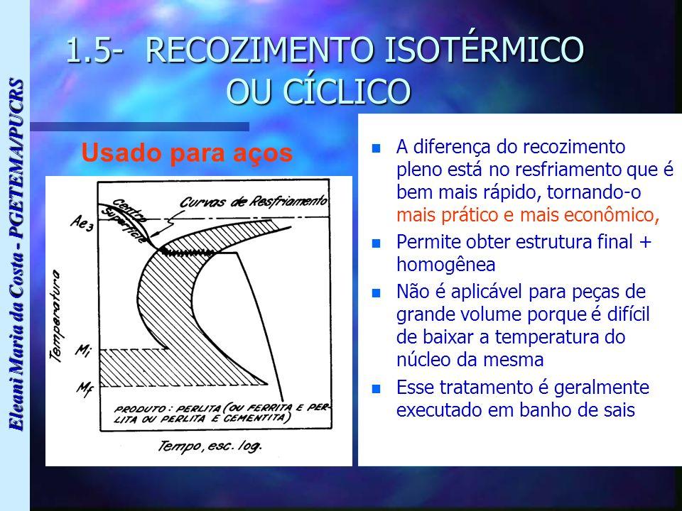 Eleani Maria da Costa - PGETEMA/PUCRS 1.5- RECOZIMENTO ISOTÉRMICO OU CÍCLICO 1.5- RECOZIMENTO ISOTÉRMICO OU CÍCLICO n n A diferença do recozimento ple