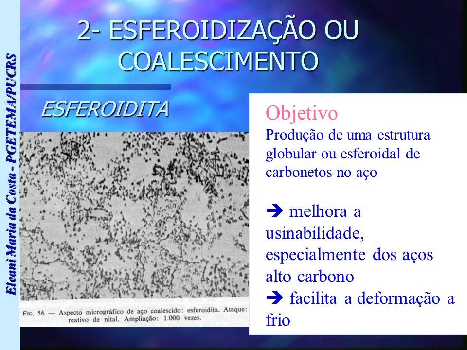 Eleani Maria da Costa - PGETEMA/PUCRS 2- ESFEROIDIZAÇÃO OU COALESCIMENTO ESFEROIDITA Objetivo Produção de uma estrutura globular ou esferoidal de carb