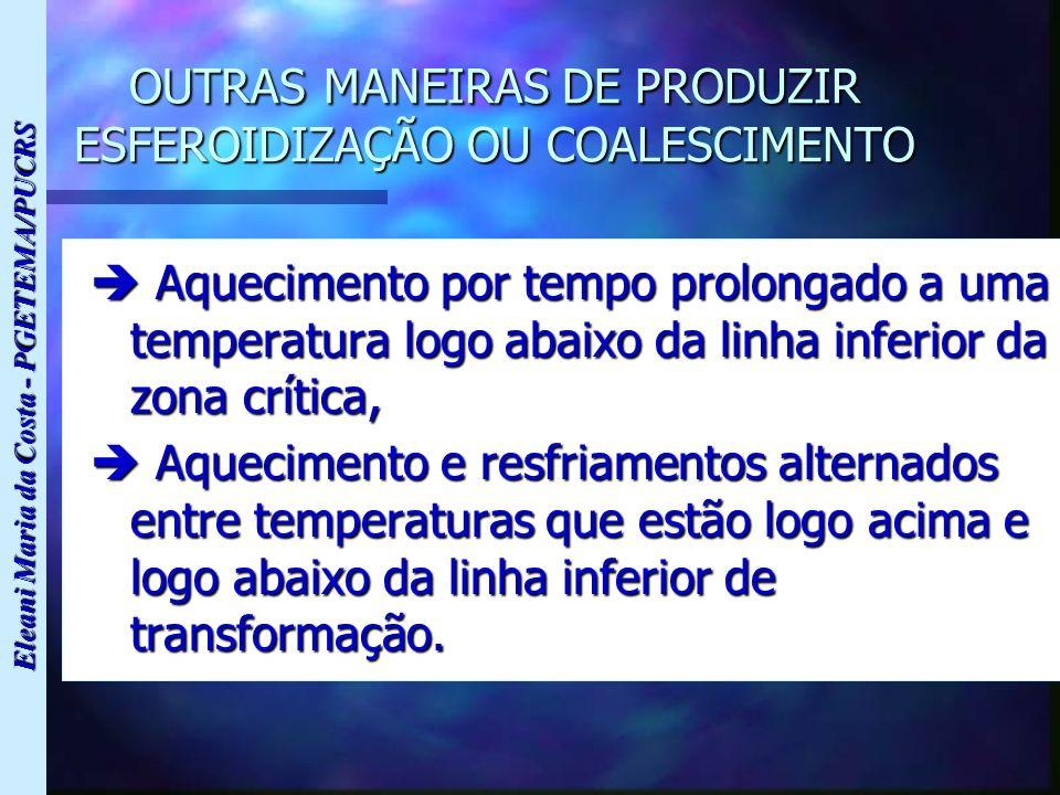 Eleani Maria da Costa - PGETEMA/PUCRS OUTRAS MANEIRAS DE PRODUZIR ESFEROIDIZAÇÃO OU COALESCIMENTO Aquecimento por tempo prolongado a uma temperatura l