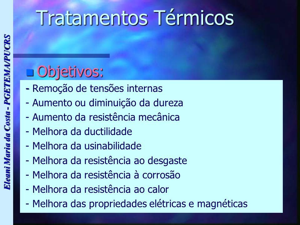 Eleani Maria da Costa - PGETEMA/PUCRS Tratamentos Térmicos n Objetivos: - - Remoção de tensões internas - Aumento ou diminuição da dureza - Aumento da