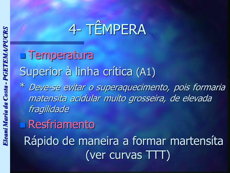 Eleani Maria da Costa - PGETEMA/PUCRS 4- TÊMPERA n Temperatura Superior à linha crítica (A1) * Deve-se evitar o superaquecimento, pois formaria matens