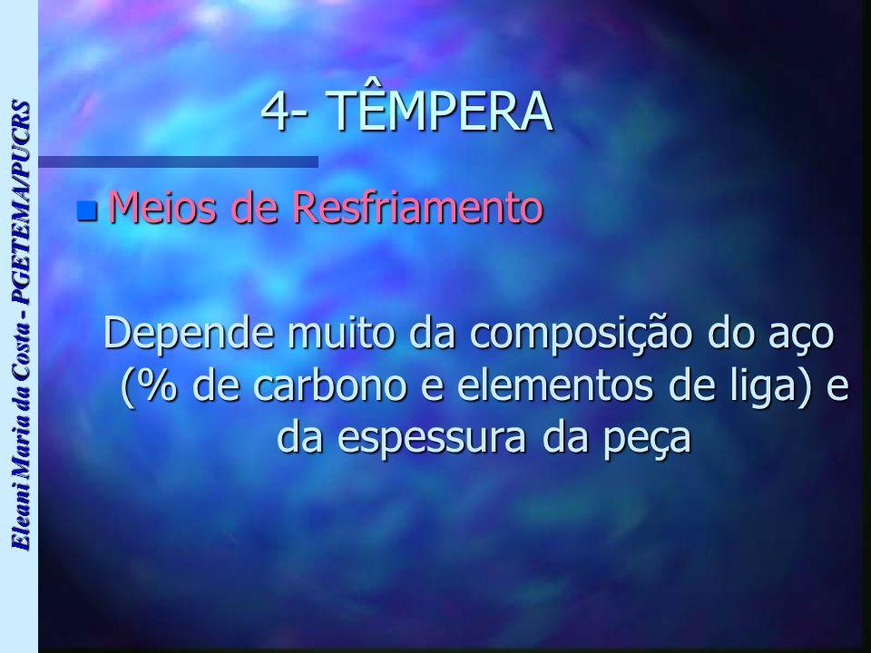 Eleani Maria da Costa - PGETEMA/PUCRS 4- TÊMPERA n Meios de Resfriamento Depende muito da composição do aço (% de carbono e elementos de liga) e da es