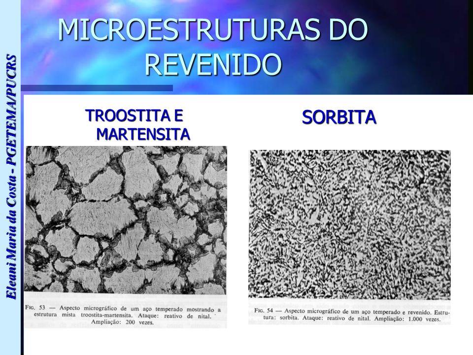 Eleani Maria da Costa - PGETEMA/PUCRS MICROESTRUTURAS DO REVENIDO TROOSTITA E MARTENSITA SORBITA