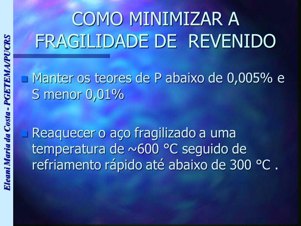 Eleani Maria da Costa - PGETEMA/PUCRS COMO MINIMIZAR A FRAGILIDADE DE REVENIDO n Manter os teores de P abaixo de 0,005% e S menor 0,01% n Reaquecer o