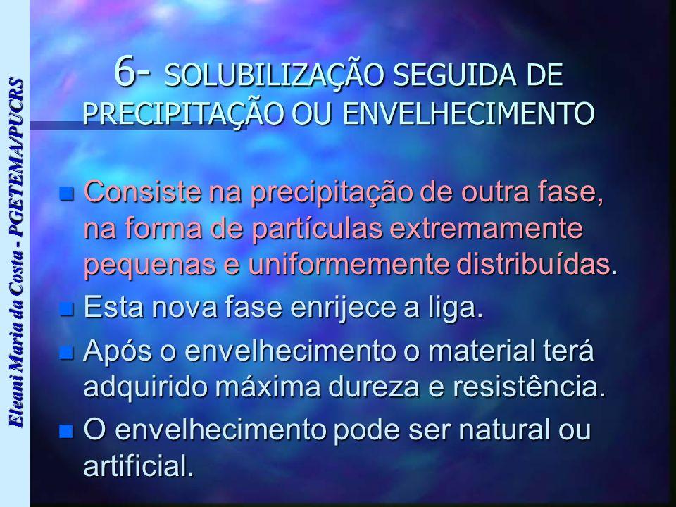 Eleani Maria da Costa - PGETEMA/PUCRS 6- SOLUBILIZAÇÃO SEGUIDA DE PRECIPITAÇÃO OU ENVELHECIMENTO n Consiste na precipitação de outra fase, na forma de