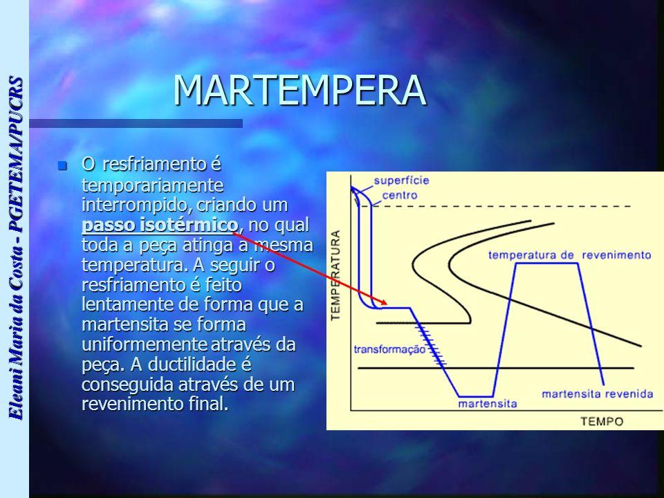 Eleani Maria da Costa - PGETEMA/PUCRS MARTEMPERA n O resfriamento é temporariamente interrompido, criando um passo isotérmico, no qual toda a peça ati