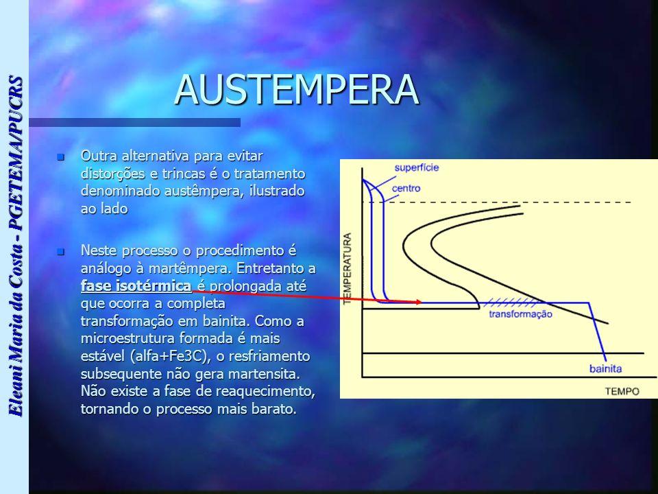 Eleani Maria da Costa - PGETEMA/PUCRS AUSTEMPERA n Outra alternativa para evitar distorções e trincas é o tratamento denominado austêmpera, ilustrado