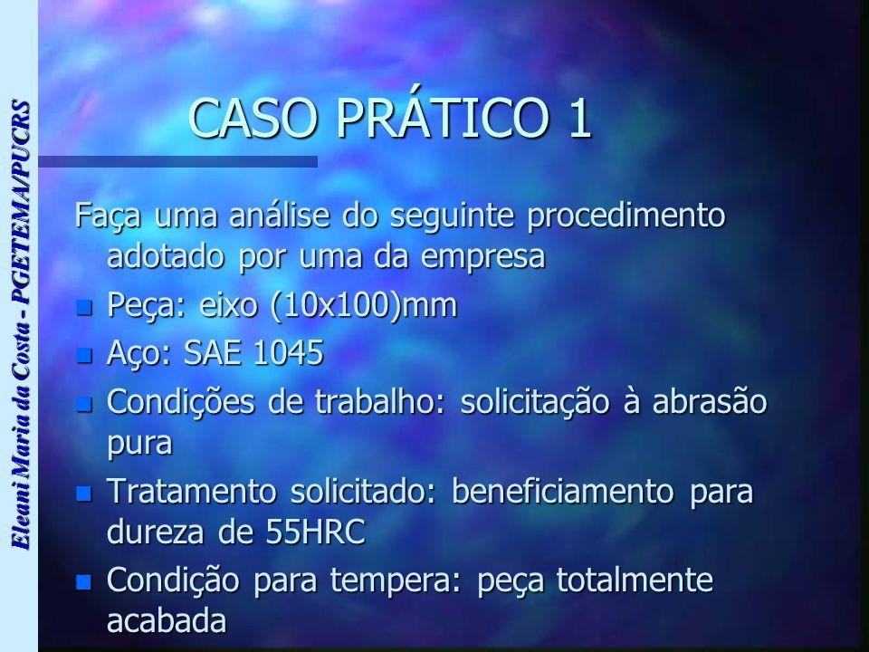 Eleani Maria da Costa - PGETEMA/PUCRS CASO PRÁTICO 1 Faça uma análise do seguinte procedimento adotado por uma da empresa n Peça: eixo (10x100)mm n Aç