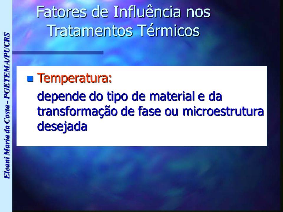 Eleani Maria da Costa - PGETEMA/PUCRS Fatores de Influência nos Tratamentos Térmicos n Temperatura: depende do tipo de material e da transformação de