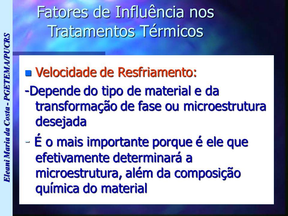 Eleani Maria da Costa - PGETEMA/PUCRS Fatores de Influência nos Tratamentos Térmicos n Velocidade de Resfriamento: -Depende do tipo de material e da t