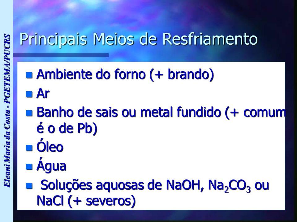 Eleani Maria da Costa - PGETEMA/PUCRS Principais Meios de Resfriamento n Ambiente do forno (+ brando) n Ar n Banho de sais ou metal fundido (+ comum é