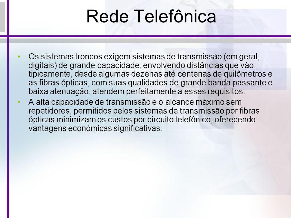 Rede Telefônica Os sistemas troncos exigem sistemas de transmissão (em geral, digitais) de grande capacidade, envolvendo distâncias que vão, tipicamen
