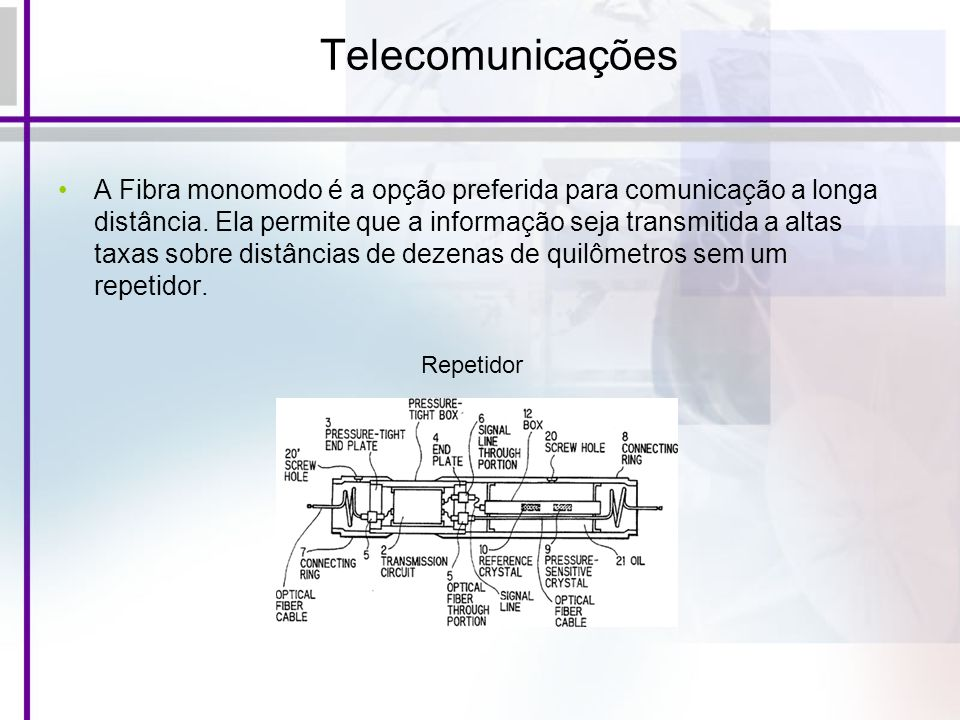 Telecomunicações A Fibra monomodo é a opção preferida para comunicação a longa distância. Ela permite que a informação seja transmitida a altas taxas
