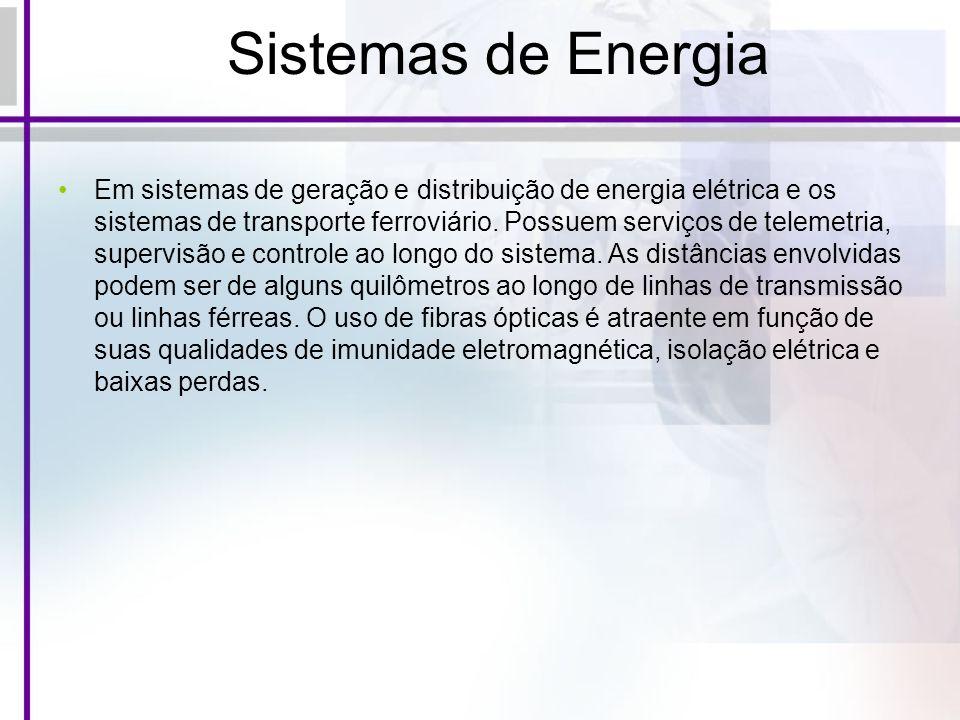 Sistemas de Energia Em sistemas de geração e distribuição de energia elétrica e os sistemas de transporte ferroviário. Possuem serviços de telemetria,