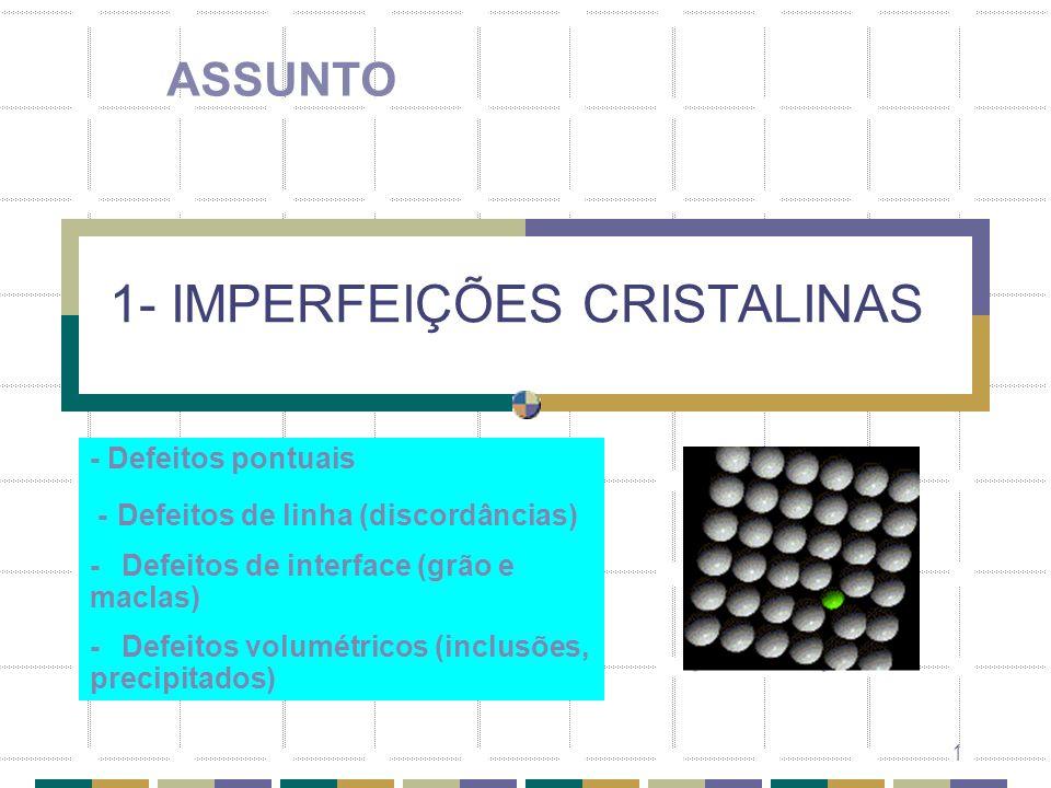 1 1- IMPERFEIÇÕES CRISTALINAS ASSUNTO - Defeitos pontuais - Defeitos de linha (discordâncias) - Defeitos de interface (grão e maclas) - Defeitos volum
