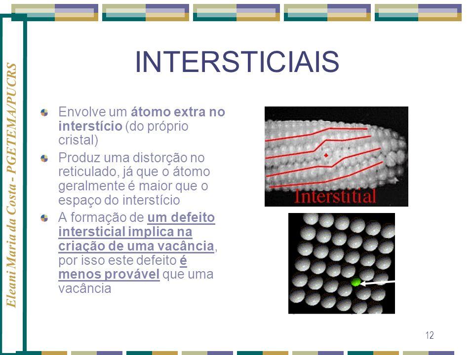Eleani Maria da Costa - PGETEMA/PUCRS 12 INTERSTICIAIS Envolve um átomo extra no interstício (do próprio cristal) Produz uma distorção no reticulado,