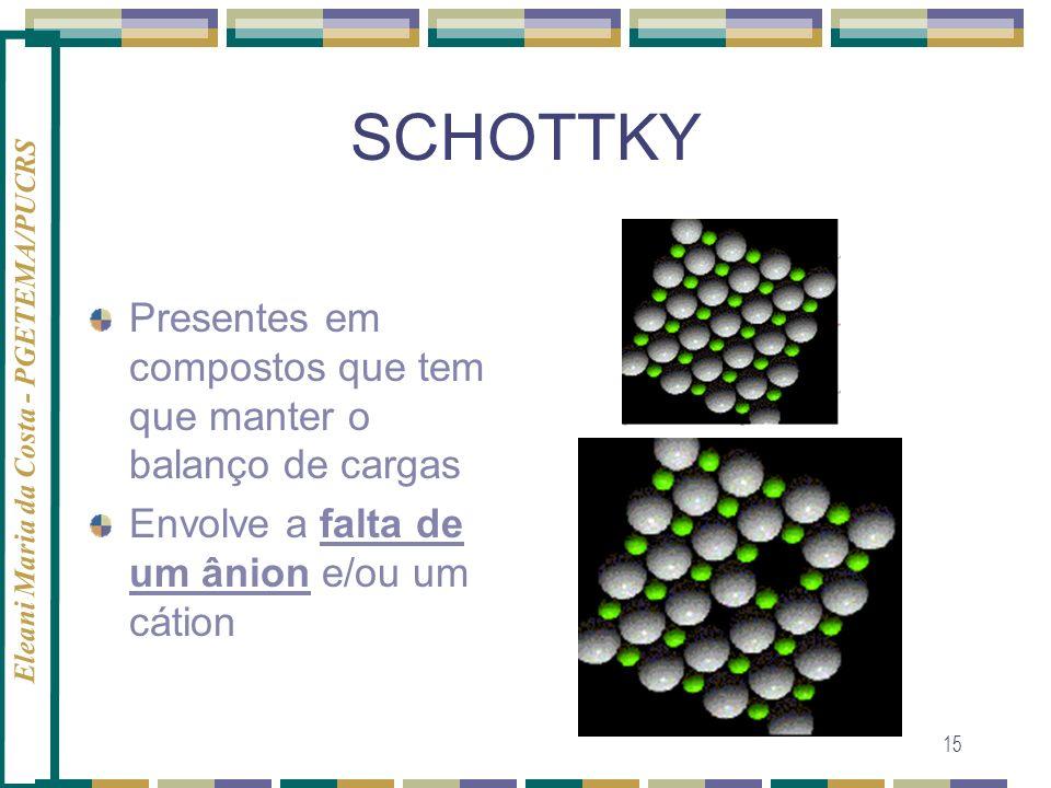 Eleani Maria da Costa - PGETEMA/PUCRS 15 SCHOTTKY Presentes em compostos que tem que manter o balanço de cargas Envolve a falta de um ânion e/ou um cá
