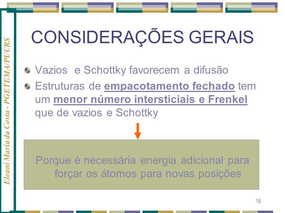 Eleani Maria da Costa - PGETEMA/PUCRS 16 CONSIDERAÇÕES GERAIS Vazios e Schottky favorecem a difusão Estruturas de empacotamento fechado tem um menor n