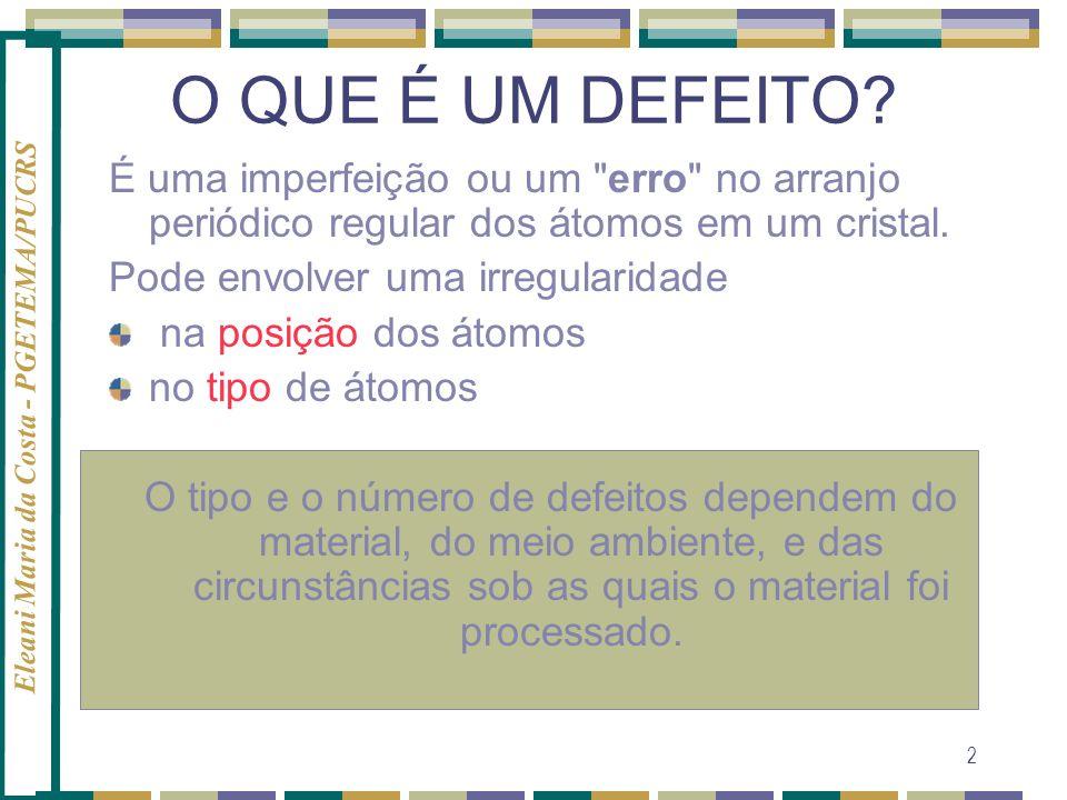 Eleani Maria da Costa - PGETEMA/PUCRS 2 O QUE É UM DEFEITO? É uma imperfeição ou um
