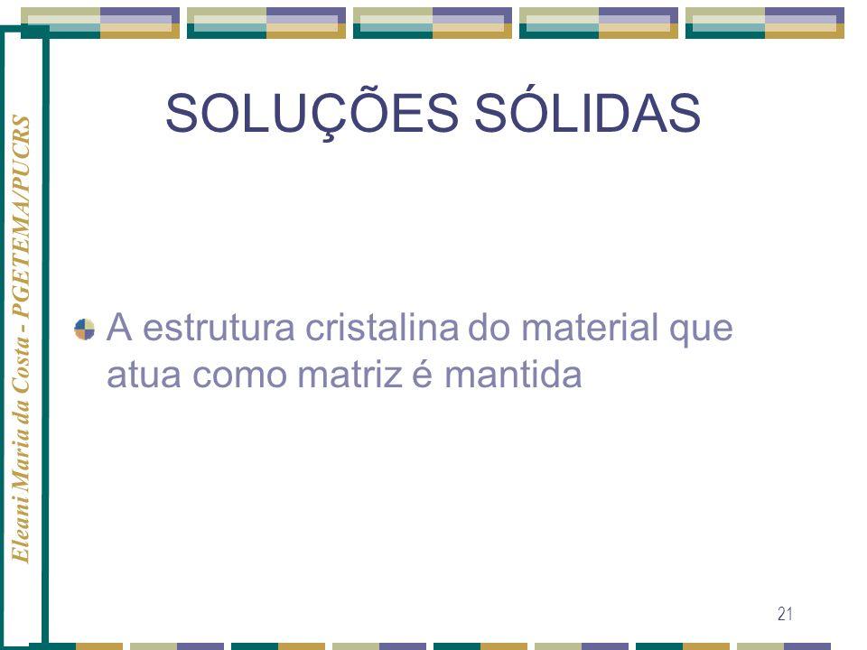 Eleani Maria da Costa - PGETEMA/PUCRS 21 SOLUÇÕES SÓLIDAS A estrutura cristalina do material que atua como matriz é mantida