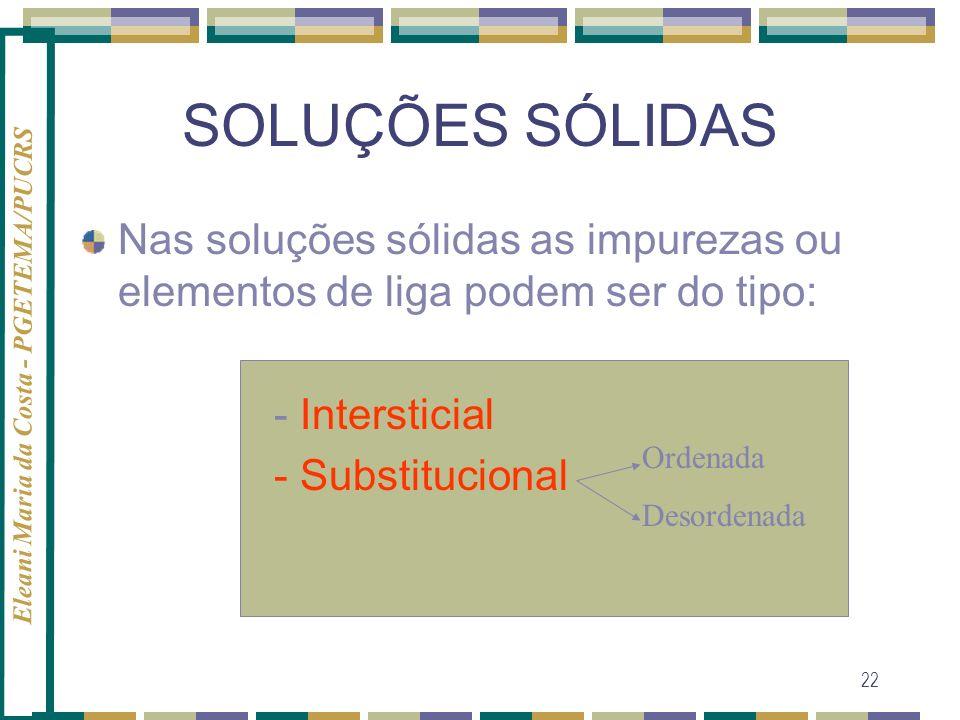 Eleani Maria da Costa - PGETEMA/PUCRS 22 SOLUÇÕES SÓLIDAS Nas soluções sólidas as impurezas ou elementos de liga podem ser do tipo: - Intersticial - S