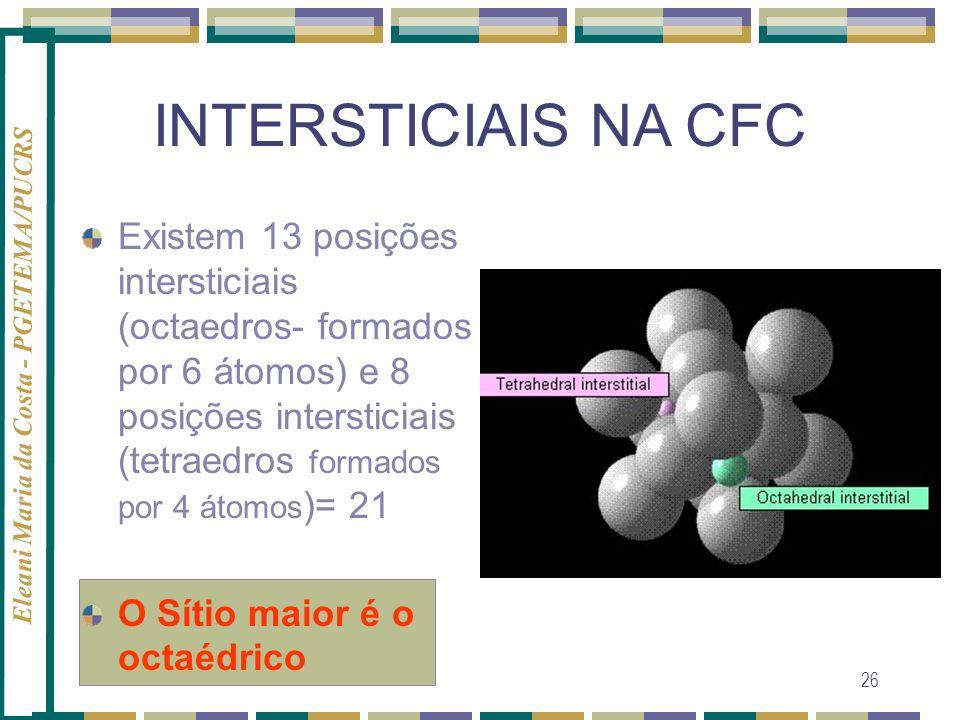 Eleani Maria da Costa - PGETEMA/PUCRS 26 INTERSTICIAIS NA CFC Existem 13 posições intersticiais (octaedros- formados por 6 átomos) e 8 posições inters